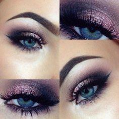 10 Awesome Eye #makeup Looks for Blue Eyes #EyeMakeupGlitter Purple Eye Makeup, Smokey Eye Makeup, Skin Makeup, Eyeshadow Makeup, Purple Eyeshadow, Makeup For Blue Eyes, Purple Smokey Eye, Makeup Salon, Grey Makeup
