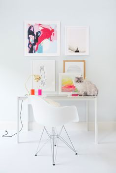 Bright white, minimal home office design inspiration Home Office Design, Home Office Decor, Home Decor, Office Ideas, Workspace Inspiration, Color Inspiration, Office Workspace, Office Spaces, Decorating Your Home