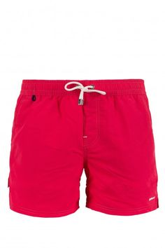 REMMERTH BW - beachwear - man - Gas Jeans -Bathing trunks medium-length boxers, waist sash, side slits on the bottom, side pockets and one back pocket with velcro, embroidered logo. Colour: red