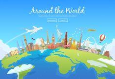 Around The World Vector EPS. Download here: https://graphicriver.net/item/around-the-world/15576536?ref=ksioks