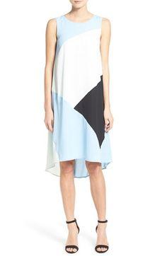 Vince Camuto Colorblock High/Low Hem Shift Dress (Regular & Petite)