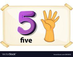 Number 5 vector image on VectorStock Body Parts Preschool, Number Flashcards, Flower Petal Template, Arabic Alphabet For Kids, Math Activities For Kids, Numbers Preschool, School Clipart, Christmas Treat Bags, Number 5