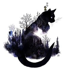 The Girl with the Book Addiction · talesfromweirdland: Canadian illustrator, Ju… – Cat Supplies Composition Photo, Black Cat Tattoos, Black Cat Art, Black Cat Drawing, Cat Tattoo Designs, Illustrator, Animal Drawings, Art Inspo, Art Sketches