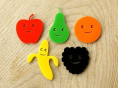 Set of 5 Laser Cut Acrylic Kitsch Fun Fruit People by BooBooAndTed, $12.25