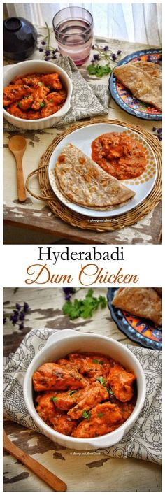 Hyderabadi Dum Chicken is a rich and flavorful curry which has a thick gravy made by cooking fried onions, yoghurt, cashew paste and many other spices on low heat till everything is blended together to form a rich, silky gravy. Read Recipe by janhavimule Veg Recipes, Spicy Recipes, Curry Recipes, Indian Food Recipes, Asian Recipes, Cooking Recipes, Healthy Recipes, Ethnic Recipes, Pakistani Chicken Recipes