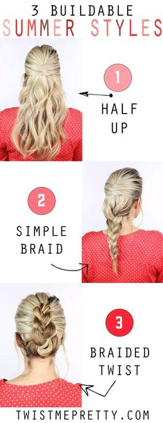 These are three super simple hairstyles that are perfect for the upcoming summer months! Video tutorial at twistmepretty.com