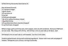 Grilled Bread, Grilled Shrimp, La Trattoria, Yellow Tomatoes, Kalamata Olives, Fresh Basil, Grilling, Salads, Salad