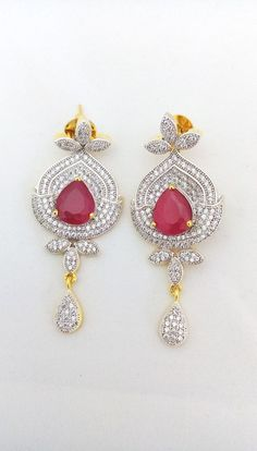 Shourya Exports 18K Micro CZ Flower Hot Ruby Pink Awesome Bridal Earrings Set #ShouryaExports #DropDangle