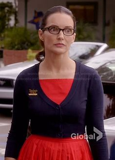 Ginny's red pleated dress and cropped navy cardigan on Bad Teacher.  Outfit Details: http://wornontv.net/35092/ #BadTeacher