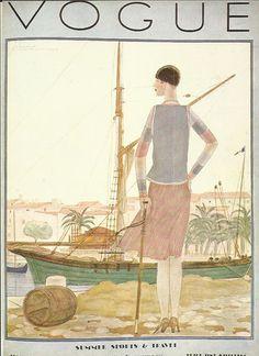 Vogue magazine cover 1928 Summer Sports by OLDBOOKSMAPSPRINTS