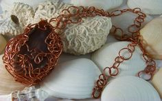 Unique, Wire Wrapped Agate & Copper Chain Necklace - adjustable - by DesignsByJuneBug on Etsy