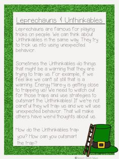 Leprechauns & Unthinkables have a lot in common. I decided to pair the two for my students working with Michelle Garcia Winner's Superflex Curriculum. Speech Room, Social Thinking, Occupational Therapy, Student Work, Speech And Language, Social Skills, Special Education, St Patricks Day, Bridges