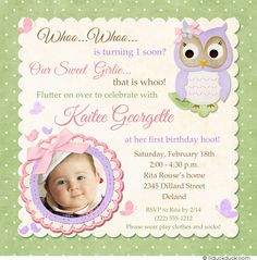 Two Photo Naming Ceremony Invitation  Beautiful Baby Girl
