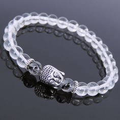 Men's Women White Crystal Black Rutilated Quartz Bracelet Tibetan Silver T133 #Handmade #Beaded