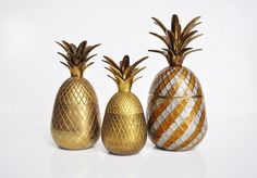 Vintage brass pineapples are a fun and quirky collectible.