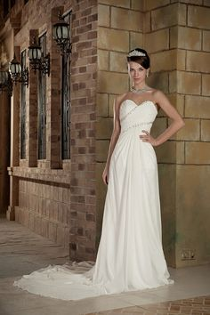 Sheath/Column Sweetheart Stretch Satin Chiffon Court Train Wedding Dress