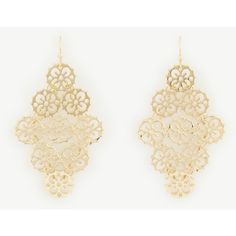 Ann Taylor Filigree Chandelier Earrings ($40) ❤ liked on Polyvore featuring jewelry, earrings, gold, ann taylor, filigree earrings, ann taylor earrings, filigree jewelry and ann taylor jewelry