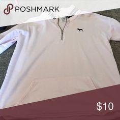 Half zip sweatshirt Baby pink half zip vs pink sweatshirt. Runs big. Does have a small stain by zipper PINK Victoria's Secret Tops Sweatshirts & Hoodies