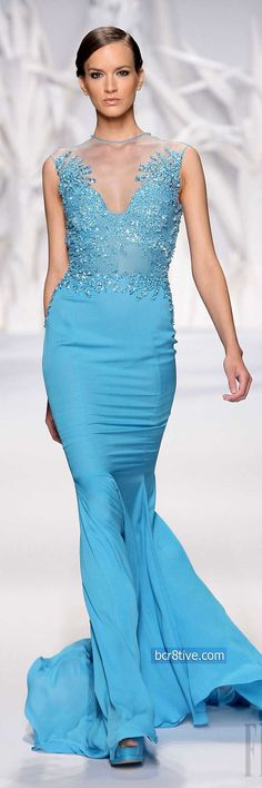 Abed Mahfouz Fall Winter 2014 Haute Couture I like this dress, you do not see enough of this color used in evening gowns. Also the cut and the way it flows make it very elegant