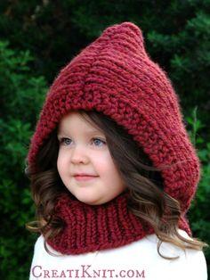 The Arwen Hood  Knitting Patttern Baby Toddler Child by CreatiKnit