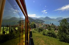 Cog railway from Vitznau up the Rigi (c) perretfoto. Appalachian Mountains, Colorado Mountains, Rocky Mountains, Snowy Mountains, Lake Lucerne Switzerland, Switzerland Tour, Walking Holiday, Grand Tour, Touring