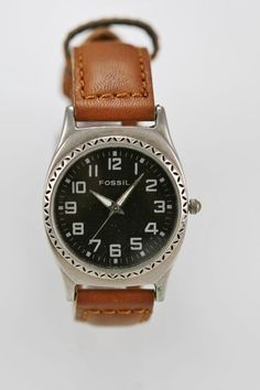 Fossil Mens Watch Mood Stainless Steel Silver Leather Brown Water Resist Quartz