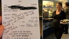 The patron wrote on the receipt: 'This is God's money - he gave it to us so we could give it to you.... - Provided by CBS Interactive Inc.