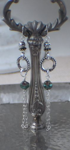 Dangle Earrings  Aqua Blue Bead and Chain by ThatGirlsDesigns, $10.00