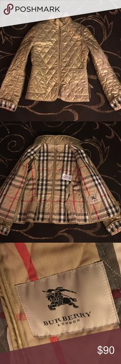 Burberry London jacket Burberry London jacket. Great coat to Cruze around in cool weather.  Golden outer looks great with black or blue jeans! Burberry Jackets & Coats
