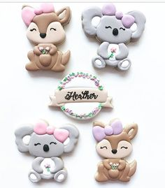 koala and Kanga girl cutters into the most adorable cookies! Bear Cookies, Cute Cookies, Cupcake Cookies, Iced Cookies, Baby Shower Parties, Baby Boy Shower, Australian Cookies, 2nd Birthday Party Themes, Zoo Birthday