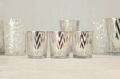 2.5 inch tall Silver Party Stripes candle holders add class and glass to your table!
