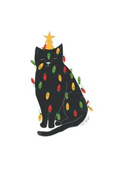 christmas illustration What a lovely - weihnachten Merry Little Christmas, Christmas Cats, Winter Christmas, Christmas Trees, Christmas Cookies, Art And Illustration, Illustrations, Christmas Illustration Design, Story Instagram