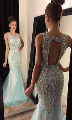 2017 Charming Prom Dresses,Prom Dress,Tulle Formal Gown,Backless Prom