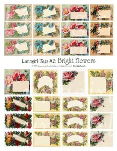 TAGS SET #2: BRIGHT FLOWERS  Unique set of tags created by altering and embellishing authentic antique labels and cards! Specially created to adorn your gifts and handmade creations. These feature beautiful roses, daisies, and other flowers.    Very colorful and fun images ready to print for gift tags, labels. Decorate jars and bottles or use as embellishments for scrapbooking and card making.