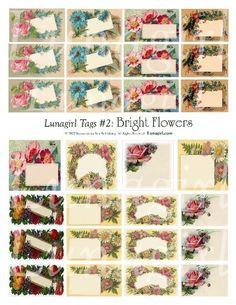 FLOWERS TAGS, digital collage sheet, vintage images, floral, labels, gifts, gift tags, Victorian, primitive, u-print  DOWNLOAD