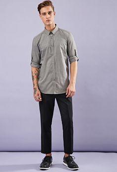 Crosshatch-Woven Shirt | 21 MEN - 2000164041