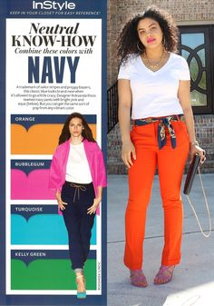 fashion | navy + orange | wake up ppl - neutral include navy, gray, taupe, brown....not just blk & white! = )