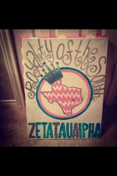 Zeta Tau Alpha Royalty of the South Canvas! ZTA, chevron, Texas!
