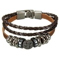 Multilayer Cross Braided Charm Leather Punk Bracelet ($3.90) ❤ liked on Polyvore featuring jewelry, bracelets, layered jewelry, leather bangle, leather jewelry, crucifix charm and cross jewelry