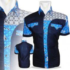 K1-016 Pakaian Pria Kemeja Batik Murah Biru