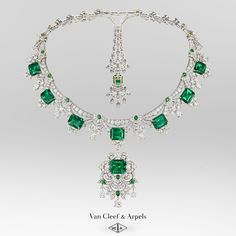 Dive into the Emeraude en majesté High Jewelry collection:  Set on diamond motifs, the emeralds punctuate the precious garlands that compose this transformable piece. The front motif- set with the largest stone- can be removed and worn as a clip, while the tie motif at the rear includes a detachable pendant also adorned with an emerald. #EmeraudeenMajesté