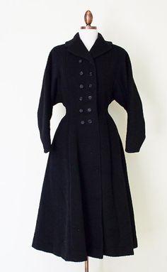 1950s Youthcraft black wool princess coat by inheritedattire
