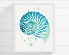 Watercolor Seashell Seashell Art Seashell Print Sea Shell