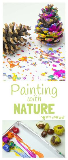Autumn painting with nature is an exciting process art technique for kids that explores textures and patterns in a fun and open-ended way. Autumn painting with Toddler Crafts, Toddler Activities, Nature Activities, Creative Activities For Children, Toddler Art Projects, Educational Activities, Activities For 2 Year Olds At Nursery, Summer Activities, Autumn Activities For Babies