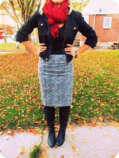 The Pretty Life Anonymous - black and white leopard skirt with bomber jacket, boots, and scarf.