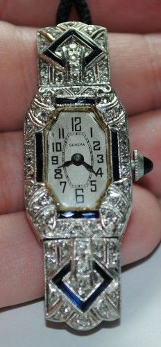 Antique Geneva Ladies Watch- Platinum, Diamonds & Sapphires - Click pics for best price Antique Watches, Antique Clocks, Vintage Watches, Antique Jewelry, Vintage Jewelry, Art Deco Watch, Rolex Women, Instruments, Beautiful Watches