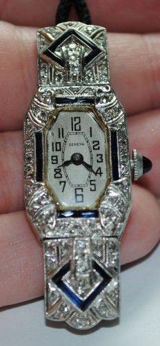 Antique Geneva Ladies Watch- Platinum, Diamonds & Sapphires - Click pics for best price <3