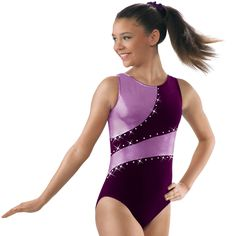 Velvet Gymnastic Leotard with Metallic Insets; Kids Gymnastics Leotards, Gymnastics Wear, Elite Gymnastics, Gymnastics Things, Dance Outfits, Sport Outfits, Cute Outfits, Dance Costumes Kids