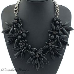 Black full crystal necklace available to buy from www.facebook.com/Scintillantjewellery