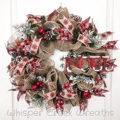Noel Burlap Deco Mesh Wreath, Christmas Wreath for Front Door, Christmas Decoration, Evergreen Wreath. Snowflake, Christmas Deco Mesh Wreath